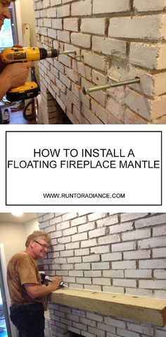 diy home decor ideas! This fireplace mantle diy with a floating wood beam is perfect! I had no idea it would be so easy to drill into brick and create a fireplace mantle diy project. It's perfectly rustic- totally fixer upper approved I think! Floating Mantle, Floating Shelves, Wood Beams, Easy Home Decor, Home And Deco, Basement Remodeling, Remodeling Ideas, Basement Plans, Basement Pool
