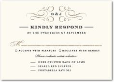 5 types of wedding rsvp card wording response cards wedding delicate flourishes embellish this rsvp response card a traditional template uses the formal response format pronofoot35fo Images