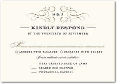 Modish Marriage Signature White Wedding Response Cards East