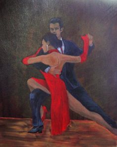 "Tango Lovers - ""Lady in Red #18"" - Painting by Lorraine Skala - Visit my Etsy Shop to purchase notecards or prints"