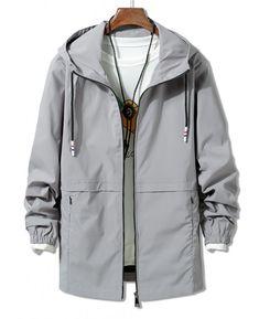 Solid Zipper Windbreaker Jacket – Gray Xl – My World Gray Jacket, Shirt Jacket, Nike Windbreaker Jacket, Tweed Jacket, Hooded Jacket, Plus Size Men, Mens Winter Coat, Cool Jackets, Men's Jackets