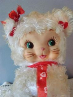RARE Vintage Rushton Valentine Kitty Cat Rubber Face Love Hearts Stuffed Animal | eBay