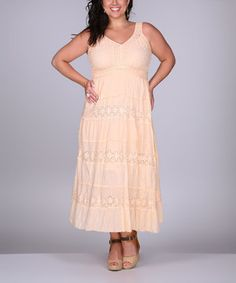 Another great find on #zulily! Peach Flower Eyelet Sleeveless Dress - Plus by Ananda's Collection #zulilyfinds