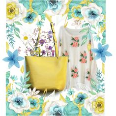The spring is everywhere by borsebyd on Polyvore featuring moda, yellow, bags and BorsebyD