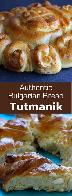 Mesenitza (or tutmanik) is one of the most famous Bulgarian breads. It is stuffed with Bulgarian yoghurt and a local cheese called sirene. Bulgarian Desserts, Bulgarian Recipes, Finnish Recipes, Bosnian Recipes, Pastry Recipes, Cooking Recipes, Vegan Recipes, Croissants, Bulgarian Bread Recipe