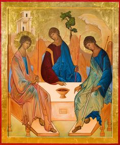 """The Holy Trinity The name """"Troitsa"""" is the Russian name given to his icon by the most famous Russian iconographer, St. Andrei Rublev, who lived from about 1370 until 1430 C. Rublev was a professed Orthodox monk living in St. Anglican Cathedral, Cathedral Church, Religious Icons, Religious Art, History Images, Art History, Andrei Rublev, Byzantine Icons, Catholic Art"""