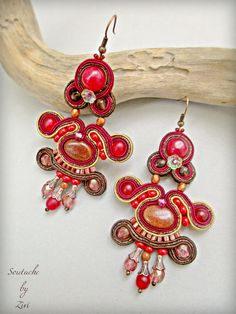 Long Burgundy Statement Soutache Earrings, Soutache Earrings, Beaded Sand Stone Earring, Garnet Chandelier Earrings, soutache earrings