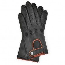 Driving Gloves for Woman in Black Leather with Cognac Accents Driving Gloves, Leather Gloves, Black Leather, Woman, Women