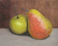 apple and pear, 8 x 10, acrylic on canvas Cole-Mann Collection