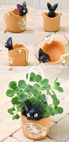 Cats Toys Ideas - Kiki's Delivery Service Jiji Planter - Check it out! - Ideal toys for small cats Kiki Delivery, Kiki's Delivery Service, Geek Decor, Totoro, Studio Ghibli, Clay Crafts, Diy And Crafts, Geek Crafts, Deku Tree
