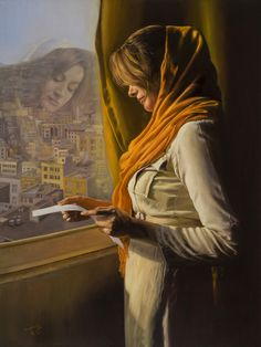 Maryam Safe The Expected Letter  Oil on Canvas  23.5 x 31.5 inches