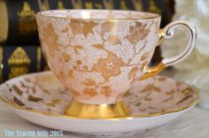 Vintage Tuscan Soft Pink Teacup and Saucer With by TheTeacupAttic