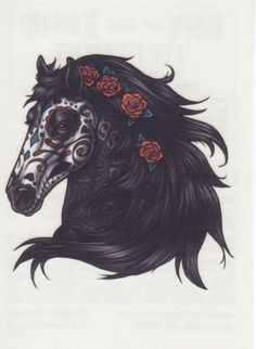 ✭ DAY OF THE DEAD HORSE ROSES TEMPORARY TATTOO ✭ MADE IN THE USA ✭ in Health & Beauty, Tattoos & Body Art, Temporary Tattoos | eBay