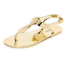 MICHAEL Michael Kors MK Plate Jelly Sandals ($58) ❤ liked on Polyvore featuring shoes, sandals, gold, t-bar sandals, rubber sole shoes, michael michael kors shoes, clear shoes and metallic sandals