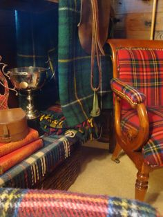 The Polohouse:   Tartans in the tack room