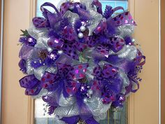 Deco Mesh Festive Purple and Silver Holiday Wreath by DecoDzigns, $95.00
