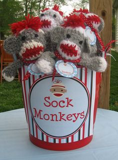 "Great party idea even for ""big kids"" that love sock monkey! Sock Monkey Decor, Sock Monkey Party, Sock Monkey Birthday, Monkey Birthday Parties, Monkey Monkey, Baby Birthday, Monkey Party Favors, Monkey Invitations, Little Monkeys"