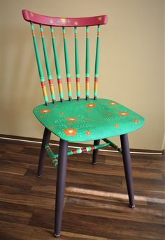 Wood chair with flowers - first reconstruction chair - boho style - bohemian - flowers etc.