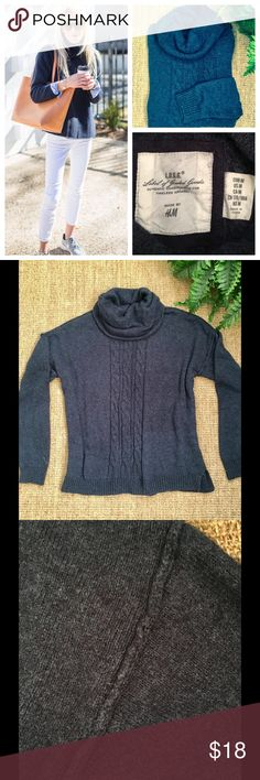 H&M Blue Navy Turtleneck Sweater Gently used condition. H&M boxy turtleneck sweater. Small spot on front but not noticeable when worn. Can't see in first pic. H&M Sweaters Cowl & Turtlenecks