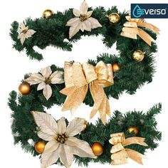 6Ft/1.8M Christmas Garland for Stairs fireplaces Christmas Garland Decoration Xmas Festive Wreath Garland with Flower & Bow Gold. Buy it now by clicking on the picture. Only 11.99£.