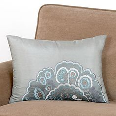 Embroidered Ice Blue Lumbar Toss Pillow--- WHO KNEW??! they actually call them lumbar support