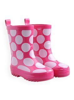 girls polka dot gumboots