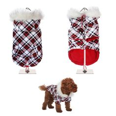 NEW IN! FREE TRACKED DELIVERY WORLDWIDE! This plaid tartan fish tail parka is inspired by the traditions of the Highlands of Scotland. It is a quality, multi-layered piece of clothing that will keep the heat in and the cold out. White Plaid, Red And White, Dog Raincoat, Fish Tail, Waterproof Coat, Teacup Chihuahua, Dog Jacket, Parka Coat, Classic Collection