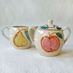 Vintage Purinton Pottery Sugar Bowl and Creamer by RattyAndCatty.  I have custard cups in this pattern.