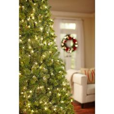 Home Accents Holiday 9 ft. Pre-Lit Full Wesley Spruce Quick-Set ...