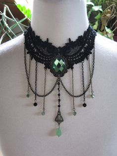 Lace Choker Necklace Collier Victorian Burlesque Bohemian Gothic Green Fairy Witch Medieval Mermaid