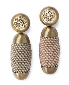 Hemmerle earrings in brass and white gold with yellow-brown diamonds and smoky quartz.