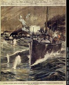 "Illustration entitled, ""Final naval battle, Japanese torpedo boat attack on the Russian ships at Port Arthur"", Russo-Japanese War (日露戦争), 1904-1905."