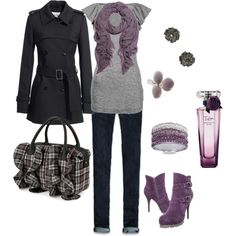 Like the grey and purple. Plus, loving those boots! :D