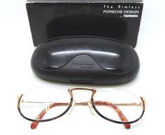 bb38652e495 Vintage Porsche Design Glasses By Carrera 5674 Unique Lower Half-Rim Gold  and Black Frames