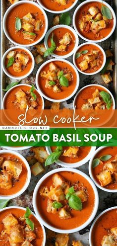 44 reviews · 8 hours · Vegetarian · Serves 8 · Want more comfort food for fall? Learn how to make Tomato Basil Soup using the slow cooker! All you have to do for this creamy soup recipe is throw everything into the crockpot. Such an easy dinner… Slow Cooked Meals, Slow Cooker Recipes, Cooking Recipes, Crockpot Meals, Freezer Meals, Damn Delicious Recipes, Healthy Soup Recipes, Vegetarian Recipes, Slow Cooker Tomato Soup