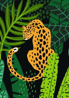 Your place to buy and sell all things handmade Leopard illustration print - Print at home Jungle Illustration, Plant Illustration, Pop Art, Jungle Art, Contemporary Art Prints, Aesthetic Art, Animal Drawings, Art Inspo, Art Projects