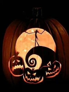 Halloween - Cool Pumpkin Carving - jack, nightmare before christmas Looks Halloween, Halloween 2015, Holidays Halloween, Halloween Tags, Scary Halloween, Halloween Costumes, Vintage Halloween, Happy Halloween, Halloween Party