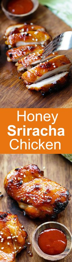 Honey Sriracha Chicken – crazy delicious chicken with honey sriracha marinade. Make it on a skillet, bake or grill for dinner tonight | rasamalaysia.com