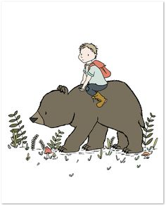 Woodland Nursery Art - Boy And Bear - The Wild Is Calling - Boy Nursery Art - Kids Wall Art. Boy Nursery Art: Here at Sweet Melody Designs we love creating cute art for your little ones rooms. We believe in encouraging the imagination of children and giving them a beautiful place to grow up. It is our hope that our art can have a small part in that wonderful experience. This is a print of an original piece of art created by Sweet Melody Designs. It is a giclee print printed on high…