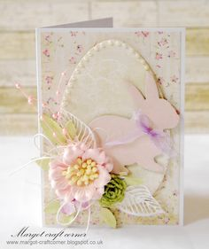 Easter card from Margot using products from http://www.scrapandcraft.co.uk/ #Easter #Bunny #Egg #Flowers