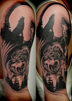 Wolf Tattoo Designs and Ideas on Half Sleeve