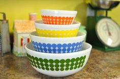 I would love these polka dot bowls! Confessions of a Pyrex Hoarder Part 1: Why and How to Display