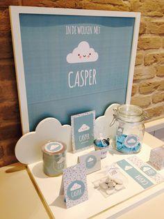 doopsuiker wolk geboortekaartje driehoekjes DIY transparant doosje snoepzakje doosje display