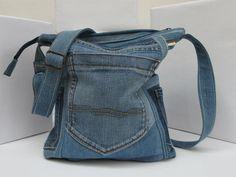 Jeans bag Way waiting xxIII, shoulder bag made of used jeans, bag made of medium blue denim fabrics,