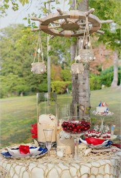 Nautical Table Centerpieces | More nautical inspiration! There were so many unique ideas in this ...