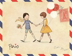airmail patterned postcard
