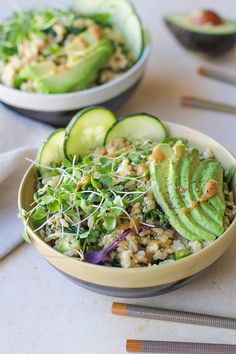 Wasabi Vegetable Bowls with broccolini , spinach, cucumber, avocado, and creamy wasabi sauce | /roastedroot/