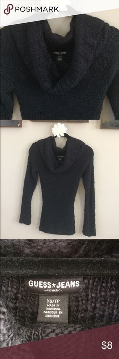 Guess Black Knit Cowl Neck Sweater XS Guess Black Knit Cowl Neck Sweater XS. Due to the nature of the knit, there will be some pilling (see picture). Gently loved. Guess Sweaters Cowl & Turtlenecks