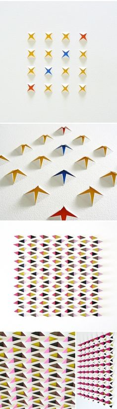 Colour peaks through white paper, cut & folded paper background...  Formas, texturas e cores com papel