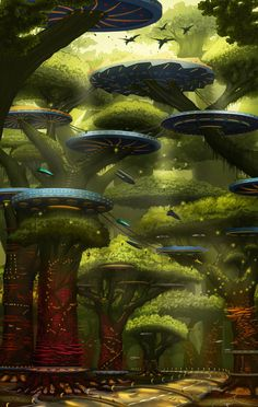 Fantasy City, Fantasy Places, Fantasy World, Futuristic City, Futuristic Architecture, Fantasy Concept Art, Fantasy Artwork, Sci Fi City, Eco City